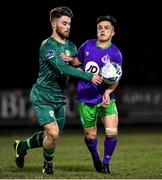 6 March 2020; Vilius Labutis of Cabinteely in action against Sean Brennan of Shamrock Rovers II during the SSE Airtricity League First Division match between Cabinteely and Shamrock Rovers II at Stradbrook Road in Blackrock, Dublin. Photo by Piaras Ó Mídheach/Sportsfile