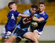 6 March 2020; Luke Swan of Dublin in action against Michael Dowling and Alex Mohan of Laois during the EirGrid Leinster GAA Football U20 Championship Final match between Laois and Dublin at Netwatch Cullen Park in Carlow. Photo by Matt Browne/Sportsfile