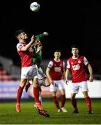 6 March 2020; Dan Ward of St Patrick's Athletic in action against Cian Coleman of Cork City during the SSE Airtricity League Premier Division match between St Patrick's Athletic and Cork City at Richmond Park in Dublin. Photo by Seb Daly/Sportsfile