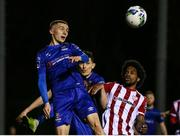 6 March 2020; Tyreke Wilson of Waterford United in action against Walter Figueira of Derry City during the SSE Airtricity League Premier Division match between Waterford and Derry City at RSC in Waterford. Photo by Michael P Ryan/Sportsfile