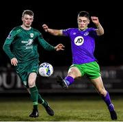 6 March 2020; Dylan Duffy of Shamrock Rovers II in action against Eoin Massey of Cabinteely during the SSE Airtricity League First Division match between Cabinteely and Shamrock Rovers II at Stradbrook Road in Blackrock, Dublin. Photo by Piaras Ó Mídheach/Sportsfile