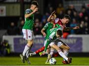 6 March 2020; Cian Coleman of Cork City in action against Martin Rennie of St Patrick's Athletic during the SSE Airtricity League Premier Division match between St Patrick's Athletic and Cork City at Richmond Park in Dublin. Photo by Seb Daly/Sportsfile