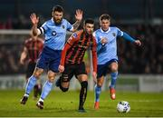 6 March 2020; Danny Mandroiu of Bohemians in action against Gary Deegan, left, and Dayle Rooney of Shelbourne during the SSE Airtricity League Premier Division match between Bohemians and Shelbourne at Dalymount Park in Dublin. Photo by Stephen McCarthy/Sportsfile