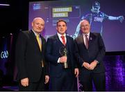 6 March 2020; Bernard Power of Corofin is presented with his Football Team of the Year Award by AIB Head of Retail Banking Denis O'Callaghan, left, and Uachtarán Chumann Lúthchleas Gael John Horan during the AIB GAA Club Players' Awards at Croke Park in Dublin. Photo by Ramsey Cardy/Sportsfile