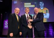 6 March 2020; Kieran Fitzgerald of Corofin is presented with his Football Team of the Year Award by AIB Head of Retail Banking Denis O'Callaghan, left, and Uachtarán Chumann Lúthchleas Gael John Horan during the AIB GAA Club Players' Awards at Croke Park in Dublin. Photo by Ramsey Cardy/Sportsfile