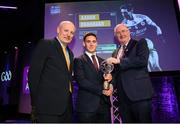 6 March 2020; Aaron Branagan of Kilcoo is presented with his Football Team of the Year Award by AIB Head of Retail Banking Denis O'Callaghan, left, and Uachtarán Chumann Lúthchleas Gael John Horan during the AIB GAA Club Players' Awards at Croke Park in Dublin. Photo by Ramsey Cardy/Sportsfile