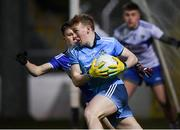 6 March 2020; Kieran McKeon of Dublin in action against Neil Keane of Laois during the EirGrid Leinster GAA Football U20 Championship Final match between Laois and Dublin at Netwatch Cullen Park in Carlow. Photo by Matt Browne/Sportsfile