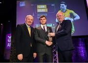 6 March 2020; Liam Silke of Corofin is presented with his Football Team of the Year Award by AIB Head of Retail Banking Denis O'Callaghan, left, and Uachtarán Chumann Lúthchleas Gael John Horan during the AIB GAA Club Players' Awards at Croke Park in Dublin. Photo by Ramsey Cardy/Sportsfile