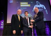 6 March 2020; Darryl Branagan of Kilcoo is presented with his Football Team of the Year Award by AIB Head of Retail Banking Denis O'Callaghan, left, and Uachtarán Chumann Lúthchleas Gael John Horan during the AIB GAA Club Players' Awards at Croke Park in Dublin. Photo by Ramsey Cardy/Sportsfile