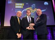 6 March 2020; Corofin manager Kevin O'Brien is presented with a Football Team of the Year Award on behalf of Daithí Burke of Corofin by AIB Head of Retail Banking Denis O'Callaghan, left, and Uachtarán Chumann Lúthchleas Gael John Horan during the AIB GAA Club Players' Awards at Croke Park in Dublin. Photo by Ramsey Cardy/Sportsfile