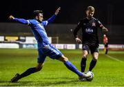 6 March 2020; Dane Massey of Dundalk is tackled by David Webster of Finn Harps during the SSE Airtricity League Premier Division match between Finn Harps and Dundalk at Finn Park in Ballybofey, Donegal. Photo by Ben McShane/Sportsfile