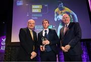 6 March 2020; Gary Sice of Corofin is presented with his Football Team of the Year Award by AIB Head of Retail Banking Denis O'Callaghan, left, and Uachtarán Chumann Lúthchleas Gael John Horan during the AIB GAA Club Players' Awards at Croke Park in Dublin. Photo by Ramsey Cardy/Sportsfile