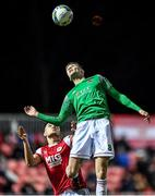6 March 2020; Cian Coleman of Cork City in action against Dan Ward of St Patrick's Athletic during the SSE Airtricity League Premier Division match between St Patrick's Athletic and Cork City at Richmond Park in Dublin. Photo by Seb Daly/Sportsfile