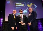 6 March 2020; Martin Farragher of Corofin is presented with his Football Team of the Year Award by AIB Head of Retail Banking Denis O'Callaghan, left, and Uachtarán Chumann Lúthchleas Gael John Horan during the AIB GAA Club Players' Awards at Croke Park in Dublin. Photo by Ramsey Cardy/Sportsfile