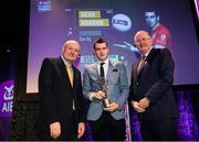 6 March 2020; Seán Gannon of Éire Óg is presented with his Football Team of the Year Award by AIB Head of Retail Banking Denis O'Callaghan, left, and Uachtarán Chumann Lúthchleas Gael John Horan during the AIB GAA Club Players' Awards at Croke Park in Dublin. Photo by Ramsey Cardy/Sportsfile