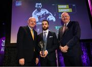 6 March 2020; Conor Laverty of Kilcoo is presented with his Football Team of the Year Award by AIB Head of Retail Banking Denis O'Callaghan, left, and Uachtarán Chumann Lúthchleas Gael John Horan during the AIB GAA Club Players' Awards at Croke Park in Dublin. Photo by Ramsey Cardy/Sportsfile