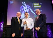 6 March 2020; Colm Basquel of Ballyboden St. Endas is presented with his Football Team of the Year Award by AIB Head of Retail Banking Denis O'Callaghan, left, and Uachtarán Chumann Lúthchleas Gael John Horan during the AIB GAA Club Players' Awards at Croke Park in Dublin. Photo by Ramsey Cardy/Sportsfile