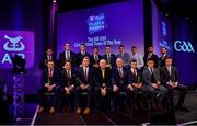 6 March 2020; The Football Team of the Year, front row, from left, Bernard Power of Corofin, Aaron Branagan of Kilcoo, Kieran Fitzgerald of Corofin, AIB Head of Retail Banking Denis O'Callaghan, Uachtarán Chumann Lúthchleas Gael John Horan, Liam Silke of Corofin, Kevin O'Donovan of Nemo Rangers, and Robbie McDaid of Ballyboden St. Endas and, back row, from left, Darryl Branagan of Kilcoo, Corofin manager Kevin O'Brien on behalf of Daithí Burke of Corofin, Ronan Steede of Corofin, Gary Sice of Corofin, Paul Devlin of Kilcoo, Seán Gannon of Éire Óg, Colm Basquel of Ballyboden St. Endas, Martin Farragher of Corofin and Conor Laverty of Kilcoo during the AIB GAA Club Players' Awards at Croke Park in Dublin. Photo by Sam Barnes/Sportsfile