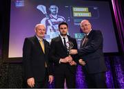 6 March 2020; Christopher McKaigue of Slaughtneil is presented with his Hurling Team of the Year Award by AIB Head of Retail Banking Denis O'Callaghan, left, and Uachtarán Chumann Lúthchleas Gael John Horan during the AIB GAA Club Players' Awards at Croke Park in Dublin. Photo by Ramsey Cardy/Sportsfile