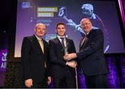 6 March 2020; Brendan Maher of Borris-Ileigh is presented with his Hurling Team of the Year Award by AIB Head of Retail Banking Denis O'Callaghan, left, and Uachtarán Chumann Lúthchleas Gael John Horan during the AIB GAA Club Players' Awards at Croke Park in Dublin. Photo by Ramsey Cardy/Sportsfile