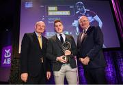 6 March 2020; Dan McCormack of Borris-Ileigh is presented with his Hurling Team of the Year Award by AIB Head of Retail Banking Denis O'Callaghan, left, and Uachtarán Chumann Lúthchleas Gael John Horan during the AIB GAA Club Players' Awards at Croke Park in Dublin. Photo by Ramsey Cardy/Sportsfile