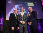 6 March 2020; Brendan Rogers of Slaughtneil is presented with his Hurling Team of the Year Award by AIB Head of Retail Banking Denis O'Callaghan, left, and Uachtarán Chumann Lúthchleas Gael John Horan during the AIB GAA Club Players' Awards at Croke Park in Dublin. Photo by Ramsey Cardy/Sportsfile