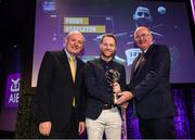 6 March 2020; Paddy Stapleton of Borris-Ileigh is presented with his Hurling Team of the Year Award by AIB Head of Retail Banking Denis O'Callaghan, left, and Uachtarán Chumann Lúthchleas Gael John Horan during the AIB GAA Club Players' Awards at Croke Park in Dublin. Photo by Ramsey Cardy/Sportsfile