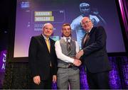 6 March 2020; Darren Mullen of Ballyhale Shamrocks is presented with his Hurling Team of the Year Award by AIB Head of Retail Banking Denis O'Callaghan, left, and Uachtarán Chumann Lúthchleas Gael John Horan during the AIB GAA Club Players' Awards at Croke Park in Dublin. Photo by Ramsey Cardy/Sportsfile