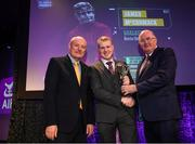 6 March 2020; James McCormack of Borris-Ileigh is presented with his Hurling Team of the Year Award by AIB Head of Retail Banking Denis O'Callaghan, left, and Uachtarán Chumann Lúthchleas Gael John Horan during the AIB GAA Club Players' Awards at Croke Park in Dublin. Photo by Ramsey Cardy/Sportsfile