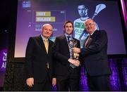 6 March 2020; Joey Holden of Ballyhale Shamrocks is presented with his Hurling Team of the Year Award by AIB Head of Retail Banking Denis O'Callaghan, left, and Uachtarán Chumann Lúthchleas Gael John Horan during the AIB GAA Club Players' Awards at Croke Park in Dublin. Photo by Ramsey Cardy/Sportsfile