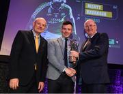 6 March 2020; Martin Kavanagh of St Mullins is presented with his Hurling Team of the Year Award by AIB Head of Retail Banking Denis O'Callaghan, left, and Uachtarán Chumann Lúthchleas Gael John Horan during the AIB GAA Club Players' Awards at Croke Park in Dublin. Photo by Ramsey Cardy/Sportsfile