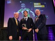 6 March 2020; Colin Fennelly of Ballyhale Shamrocks is presented with his Hurling Team of the Year Award by AIB Head of Retail Banking Denis O'Callaghan, left, and Uachtarán Chumann Lúthchleas Gael John Horan during the AIB GAA Club Players' Awards at Croke Park in Dublin. Photo by Ramsey Cardy/Sportsfile