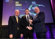6 March 2020; TJ Reid of Ballyhale Shamrocks is presented with his Hurling Team of the Year Award by AIB Head of Retail Banking Denis O'Callaghan, left, and Uachtarán Chumann Lúthchleas Gael John Horan during the AIB GAA Club Players' Awards at Croke Park in Dublin. Photo by Ramsey Cardy/Sportsfile