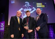6 March 2020; Jerry Kelly of Borris-Ileigh is presented with his Hurling Team of the Year Award by AIB Head of Retail Banking Denis O'Callaghan, left, and Uachtarán Chumann Lúthchleas Gael John Horan during the AIB GAA Club Players' Awards at Croke Park in Dublin. Photo by Ramsey Cardy/Sportsfile