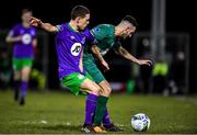 6 March 2020; Keith Dalton of Cabinteely in action against Max Murphy of Shamrock Rovers II during the SSE Airtricity League First Division match between Cabinteely and Shamrock Rovers II at Stradbrook Road in Blackrock, Dublin. Photo by Piaras Ó Mídheach/Sportsfile