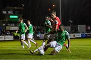 6 March 2020; Joseph Olowu of Cork City in action against Martin Rennie of St Patrick's Athletic during the SSE Airtricity League Premier Division match between St Patrick's Athletic and Cork City at Richmond Park in Dublin. Photo by Seb Daly/Sportsfile