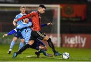 6 March 2020; Danny Mandroiu of Bohemians is tackled by Aaron Dobbs of Shelbourne during the SSE Airtricity League Premier Division match between Bohemians and Shelbourne at Dalymount Park in Dublin. Photo by Eóin Noonan/Sportsfile