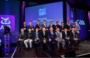 6 March 2020; The Hurling Team of the Year Award, front row, from left, James McCormack of Borris-Ileigh, Paddy Stapleton of Borris-Ileigh, Joey Holden of Ballyhale Shamrocks, AIB Head of Retail Banking Denis O'Callaghan, Uachtarán Chumann Lúthchleas Gael John Horan, Darren Mullen of Ballyhale Shamrocks, Evan Shefflin of Ballyhale Shamrocks, Brendan Maher of Borris-Ileigh, and, back row, from left, St Thomas manager Kevin Lally on behalf of Shane Cooney of St Thomas, Dan McCormack of Borris-Ileigh, Christopher McKaigue of Slaughtneil, Brendan Rogers of Slaughtneil, TJ Reid of Ballyhale Shamrocks, Jerry Kelly of Borris-Ileigh, Dessie Hutchinson of Ballygunner, Colin Fennelly of Ballyhale Shamrocks, and Martin Kavanagh of St Mullins during the AIB GAA Club Players' Awards at Croke Park in Dublin. Photo by Ramsey Cardy/Sportsfile