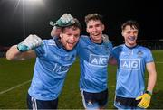 6 March 2020; Dublin players, from left, Conor Kinsella, Lee Gannon and Conor Tyrell celebrate following  the EirGrid Leinster GAA Football U20 Championship Final match between Laois and Dublin at Netwatch Cullen Park in Carlow. Photo by Matt Browne/Sportsfile