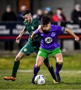 6 March 2020; Evan Smithers of Shamrock Rovers II in action against Keith Dalton of Cabinteely during the SSE Airtricity League First Division match between Cabinteely and Shamrock Rovers II at Stradbrook Road in Blackrock, Dublin. Photo by Piaras Ó Mídheach/Sportsfile