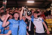 6 March 2020; Dublin captain Rory Dwyer, left, and injured captain Brian O'Leary lift the cup following the EirGrid Leinster GAA Football U20 Championship Final match between Laois and Dublin at Netwatch Cullen Park in Carlow. Photo by Matt Browne/Sportsfile