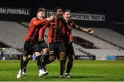 6 March 2020; Andre Wright of Bohemians, centre, celebrates with team-mates after scoring his side's first goal during the SSE Airtricity League Premier Division match between Bohemians and Shelbourne at Dalymount Park in Dublin. Photo by Eóin Noonan/Sportsfile