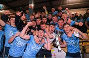 6 March 2020; Dublin players celebrate with the cup following the EirGrid Leinster GAA Football U20 Championship Final match between Laois and Dublin at Netwatch Cullen Park in Carlow. Photo by Matt Browne/Sportsfile