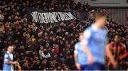 6 March 2020; Bohemians supporters unfurl a banner during the SSE Airtricity League Premier Division match between Bohemians and Shelbourne at Dalymount Park in Dublin. Photo by Stephen McCarthy/Sportsfile