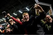6 March 2020; Bohemians supporters celebrates after their side score their first goal of the game during the SSE Airtricity League Premier Division match between Bohemians and Shelbourne at Dalymount Park in Dublin. Photo by Eóin Noonan/Sportsfile