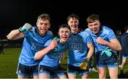 6 March 2020; Dublin players, from left, Conor Kinsella, Adam Waddick, Conor Tyrell and Adam Fearon celebrate following the EirGrid Leinster GAA Football U20 Championship Final match between Laois and Dublin at Netwatch Cullen Park in Carlow. Photo by Matt Browne/Sportsfile