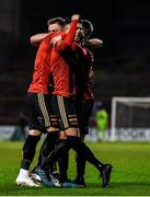 6 March 2020; Danny Mandroiu of Bohemians, centre, celebrates after scoring his side's second goal of the game during the SSE Airtricity League Premier Division match between Bohemians and Shelbourne at Dalymount Park in Dublin. Photo by Eóin Noonan/Sportsfile
