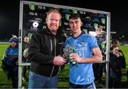 6 March 2020; Lorcan O'Dell of Dublin receives the Man of The Match Award from Eoghan O'Sullivan of EirGrid following the EirGrid Leinster GAA Football U20 Championship Final match between Laois and Dublin at Netwatch Cullen Park in Carlow. Photo by Matt Browne/Sportsfile