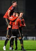 6 March 2020; Danny Mandroiu of Bohemians, 7, celebrates with team-mates after scoring his side's second goal of the game during the SSE Airtricity League Premier Division match between Bohemians and Shelbourne at Dalymount Park in Dublin. Photo by Eóin Noonan/Sportsfile