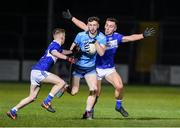6 March 2020; Ciaran Archer of Dublin in action against Michael Dowling and Barry Howlin of Laois during the EirGrid Leinster GAA Football U20 Championship Final match between Laois and Dublin at Netwatch Cullen Park in Carlow. Photo by Matt Browne/Sportsfile